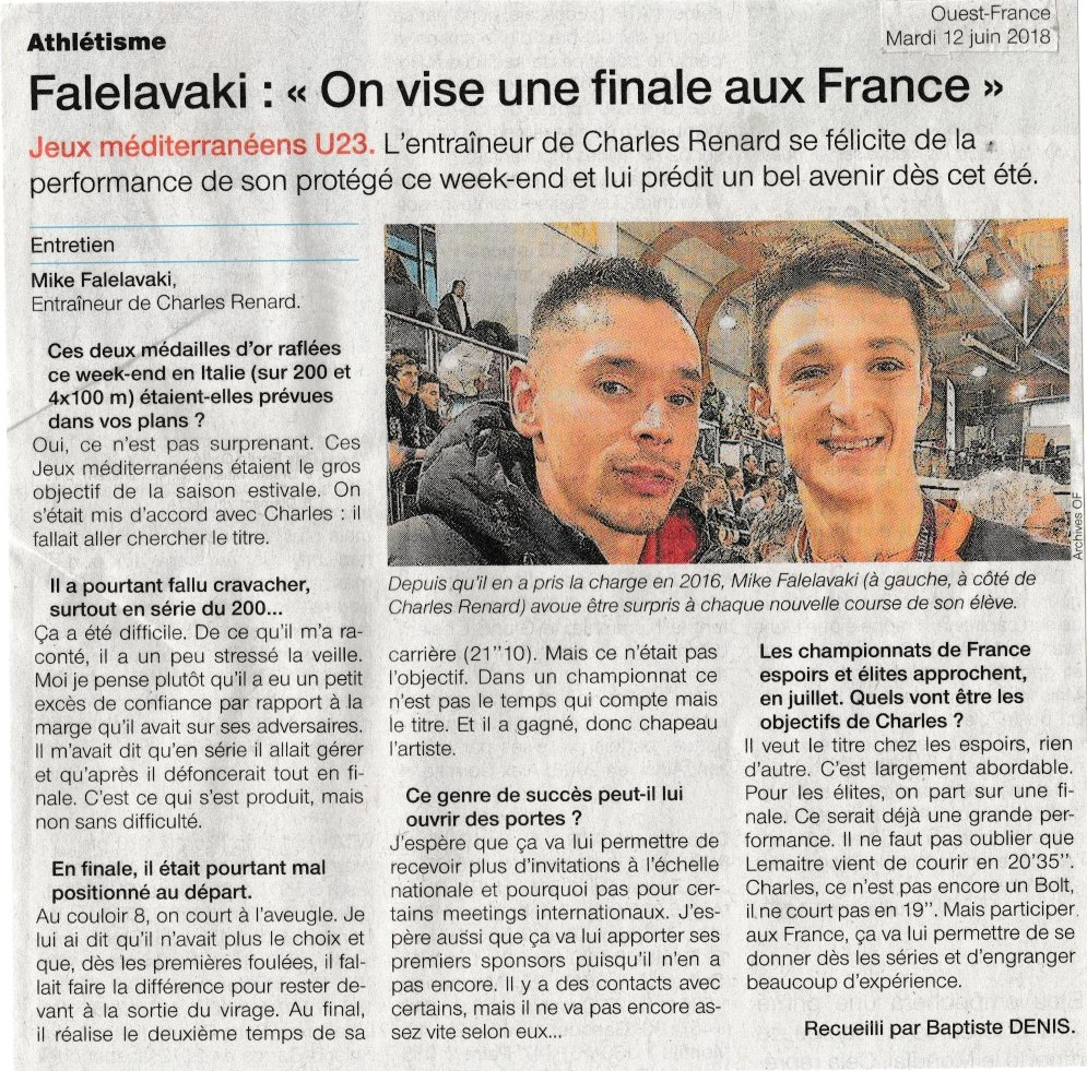 Art Falelavaki On vise une finale aux France O-F 12-06-2018
